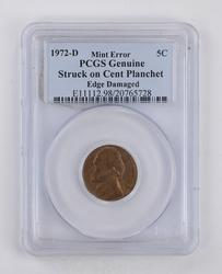 MINT ERROR 1972-D Jefferson Nickel - Struck on Cent Planchet - PCGS Graded