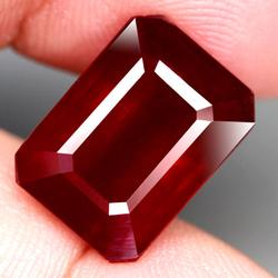 Top tier 12.77ct blood red emerald cut Ruby