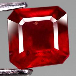 Blood red 1.77ct 6.1mm emerald faceted Ruby