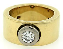 Wide Band Ring with Bezel Set Diamond in 18K