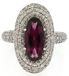 Garnet & Pave Diamond Ring