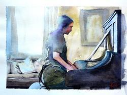 Piano Player Kellie Hales Original Watercolor