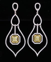 High End Yellow & White Diamond Chandelier Earrings