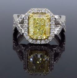 GIA Certified Designer Fancy Yellow Diamond Ring