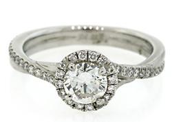 Stylish Diamond Halo Ring, Certified