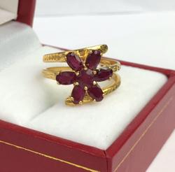 Unique Ruby & 14kt Gold Swirl Ring