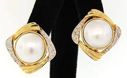 Mabe Pearl Earrings with Diamond Accents