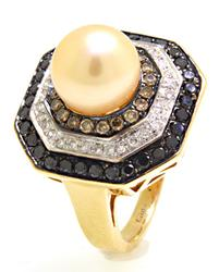 Multi Colored Diamond Ring with a Pearl