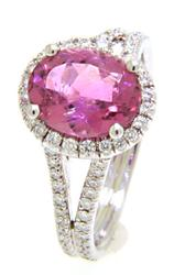 Pink Tourmaline & Diamond Ring, 18k
