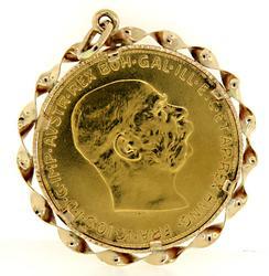 100 Corona Gold Coin Pendant in Twisted Bezel 22K/14K