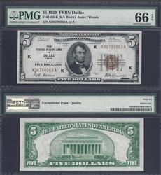 3rd Finest Known $5 1929 FRBN Dallas PMG GEM UNC 66EPQ