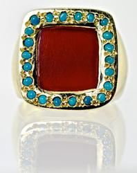 Unique Carnelian and Turquoise 18K Ring