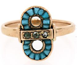 Dainty Vintage Turquoise & Diamond Ring in Rose Gold
