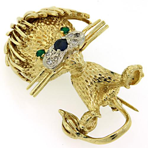 Puppy Brooch with Diamonds, Emeralds & a Sapphire