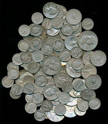 Bagful of 120 assorted mixed 90% US Silver Coinage