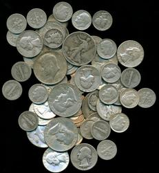 68 assorted 90% Silver Dimes, Quarters, & Half Dollars
