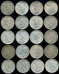 Roll of 20 assorted mixed date Peace Silver Dollars