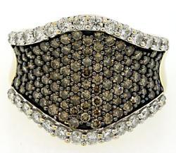 Chocolate & White Diamond Corset Ring