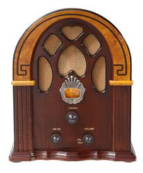 Retro 1930s Walnut AM/FM Radio with Full Range Speaker