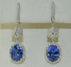 High Quality 9+ctw Tanzanite & Diamond Earrings, 18kt