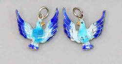 Enamelled Blue Bird Pair