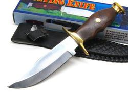 Wood Handle Straight Fixed Bowie Hunter Knife