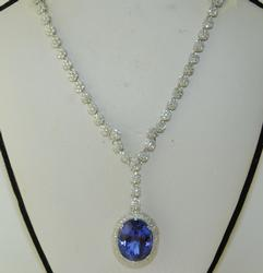 Premium Quality 23+ctw Tanzanite & Diamond Necklace