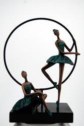 Ballerina in Verde Bronze Decorative Sculpture