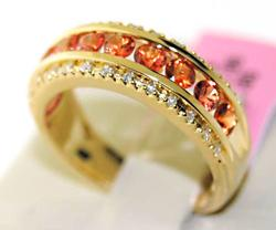 Elegant Ladies 1+ctw Orange Sapphire & Diamond Ring