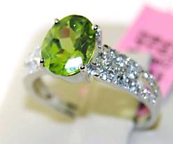 Charming 14kt Gold Peridot & Diamond Ring, 2+ctw
