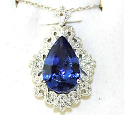 Impressive 8+ctw Tanzanite & Diamond Pendant, 18kt