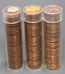 2 X 1955 D and a 1945 S BU Lincoln Cent rolls