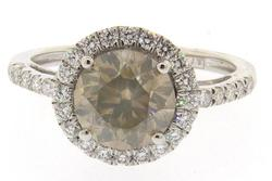 Platinum Ring with Unique Fancy Greenish Yellow-Brown Diamond