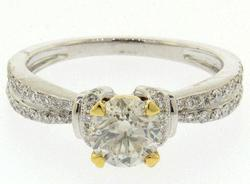 18kt Gold Cathedral Diamond Engagement Ring