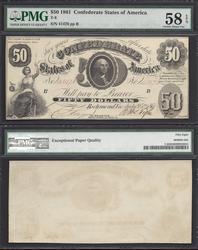 $50 1861 T-8 Confederate PMG 58 EPQ