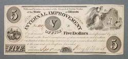 $5 Springfield Illinois Internal Improvement Note Sept 1 1840
