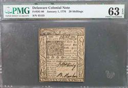 1/1/1776 Choice Unc 63 EPQ Delaware 20 Shilling Note