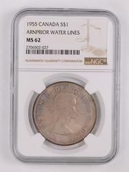 1955 Canada Silver Dollar-Anrprior Water Lines NGC MS62