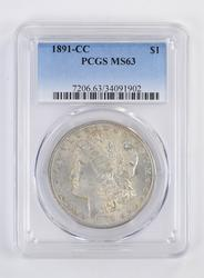 MS63 1891-CC Morgan Silver Dollar - PCGS Graded