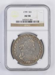 Amazing 1799 Draped Bust Silver Dollar AU58