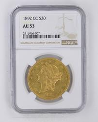 1892-CC $20 Liberty Gold Double Eagle NGC AU53