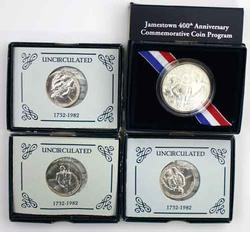 3 Unc 1992 Washington &a 2007 Jamestown Comm Halves w box papers