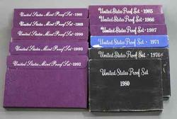 1971 1976 1980 1985-90 1992 and 1993 US Proof sets