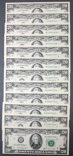 10 CR CU 1994 $20 FRN Star Notes in Consecutive order