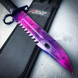 Purple Blade Tactical Fixed Blade Hunting Knife Bayonet Bowie Knife