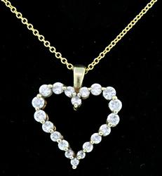 Diamond Open Heart Pendant Necklace