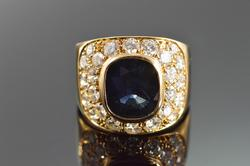 Stunning 4+ctw Sapphire & Diamond Ring in 18kt Gold