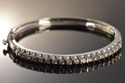 14K White Gold Diamond Channel Set Bangle Bracelet