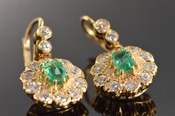 Very Collectible Antique Fine Emerald Diamond Earrings