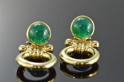 14K Gold Green Carnelian Cabochon Designer Earrings